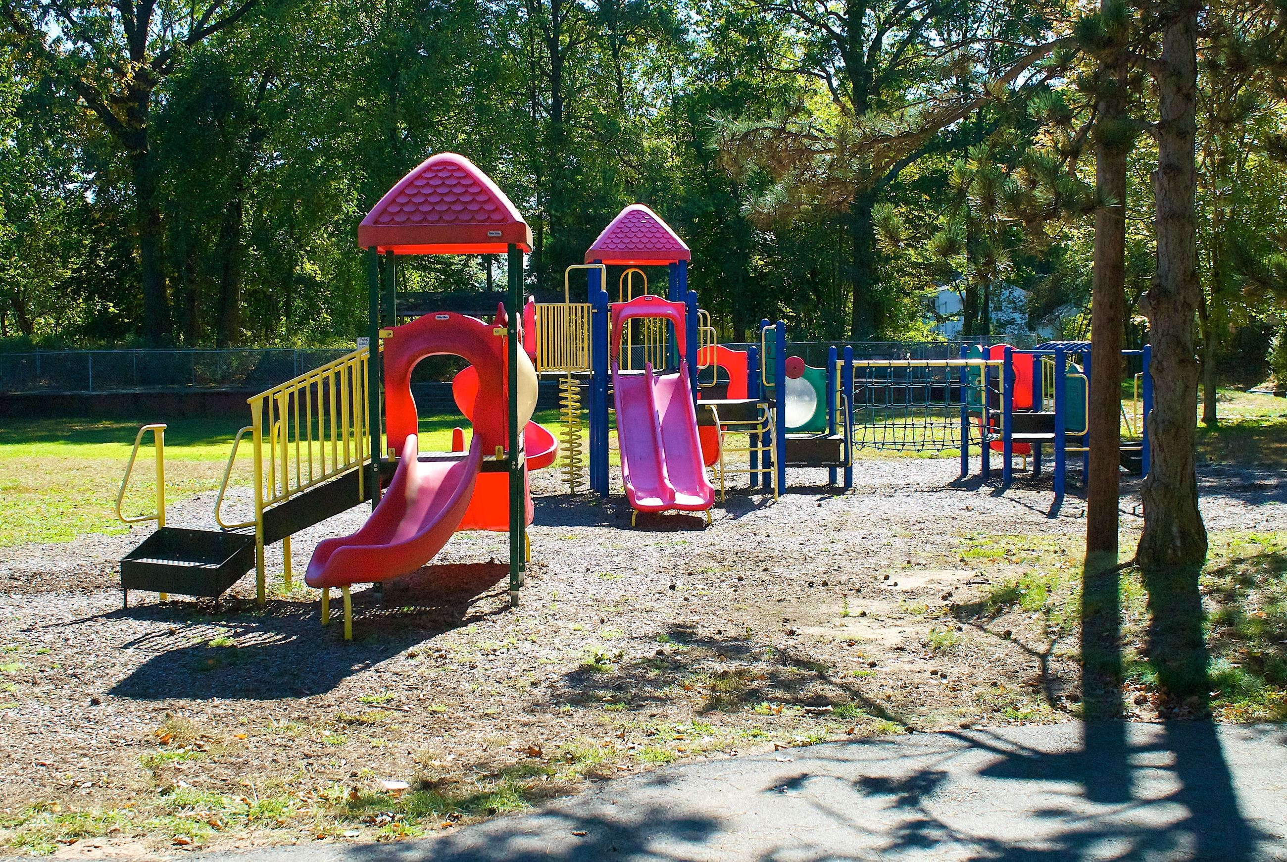Small Blue, Pink, and Yellow Play Structures at Hegeman Park