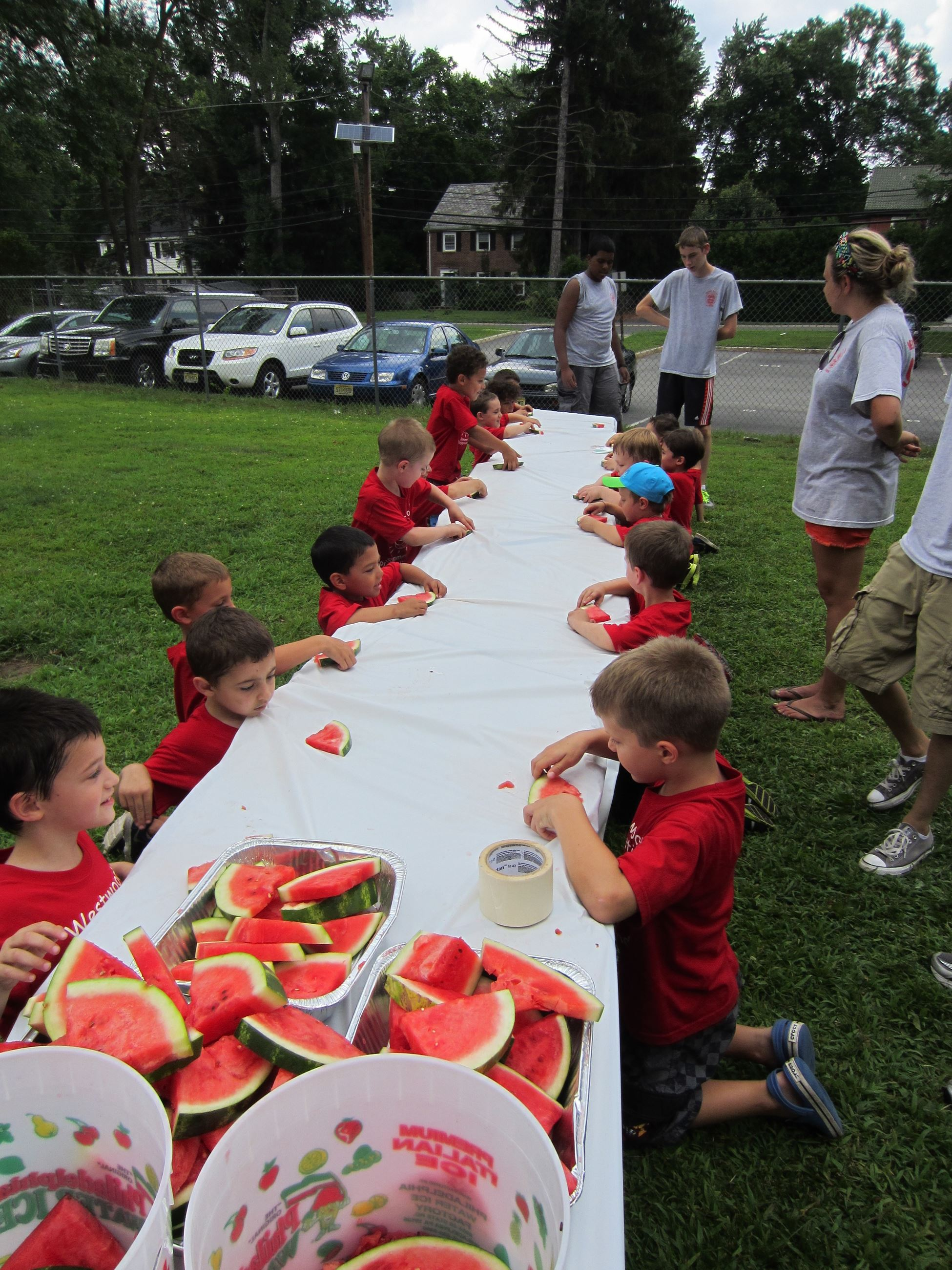 Kids Eating Watermelon at the 2014 Summer Playground